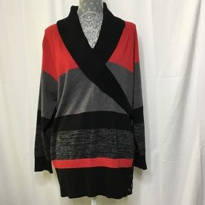 Style & Co Red Black Gray Sweater 2X Long Sleeve
